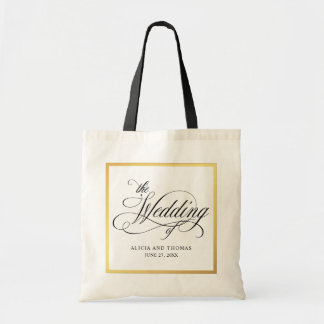 Elegant Script Flourishes Personalized Wedding Tote Bag