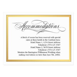Elegant Script Flourishes Wedding Accommodations Postcard