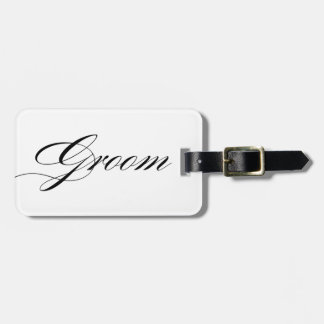 Elegant script font groom luggage tag honeymoon
