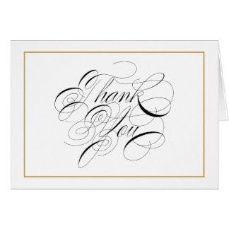 Elegant Script Gold Border Thank You Note Card