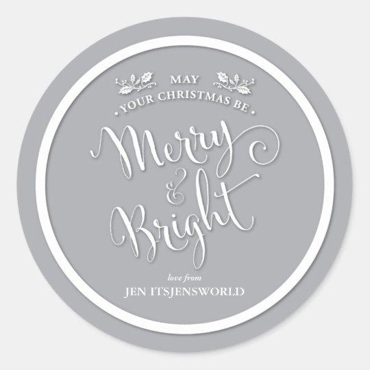 Elegant Script Merry & Bright Christmas Sticker