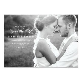 "Elegant Script Photo Save the Date - White 5"" X 7"" Invitation Card"