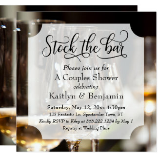 Elegant Script, Photo Stock the Bar Couples Shower Card