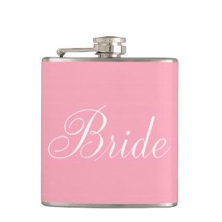 Elegant Script Pink Bride Hip Flask