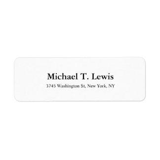 Elegant Script Plain Black White Legible Bold Text Return Address Label