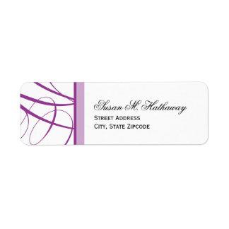 Elegant Script Return Address Label - Purple