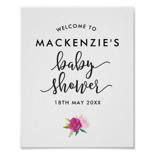 Elegant Script Roses Baby Shower Welcome Poster