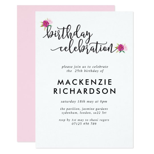 Elegant Script Roses Birthday Party Invitation