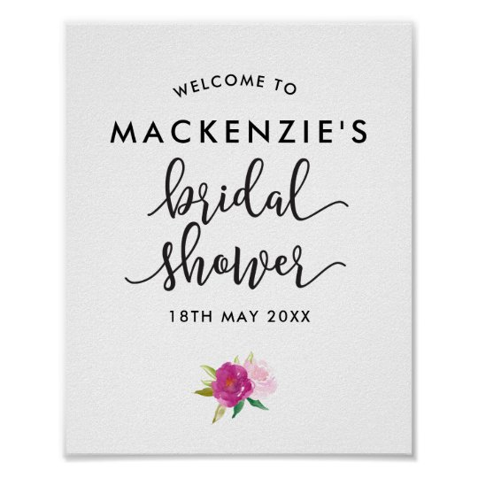 Elegant Script Roses Bridal Shower Welcome Poster