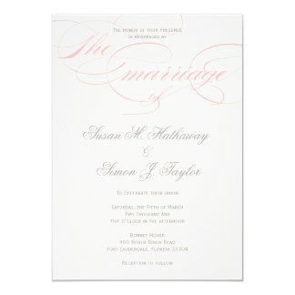 Elegant Script  Wedding Invitation  - Blush Pink