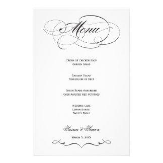 Elegant Script  Wedding Menu - Black Stationery Design