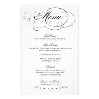 Elegant Script Wedding Menu - Custom Personalized Stationery