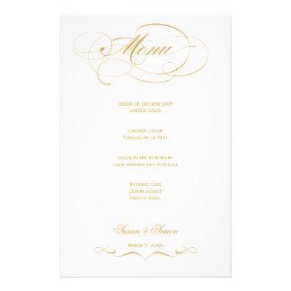 Elegant Script  Wedding Menu - Gold Custom Stationery