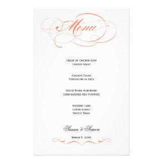 Elegant Script  Wedding Menu - Orange Custom Stationery