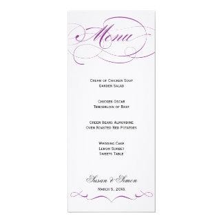 "Elegant Script  Wedding Menu - Purple 4"" X 9.25"" Invitation Card"