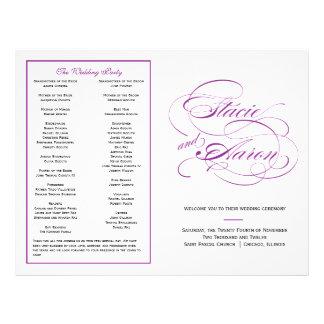 Elegant Script Wedding Program - Purple