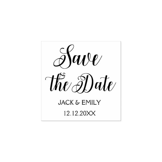 Elegant Script Wedding Save the Date Rubber Stamp