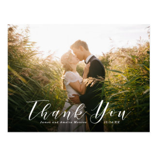 Elegant Script Wedding Thank You Postcard