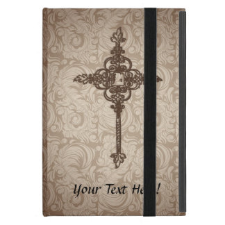 Elegant Scroll Christian Cross w/Swirl Background iPad Mini Covers