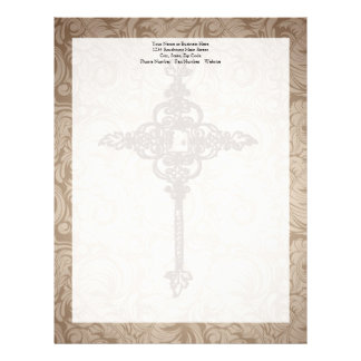 Elegant Scroll Christian Cross w/Swirl Background Letterhead
