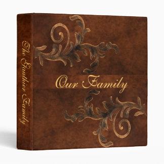 Elegant Scroll Leaf Faux Leather Family Album 3 Ring Binders