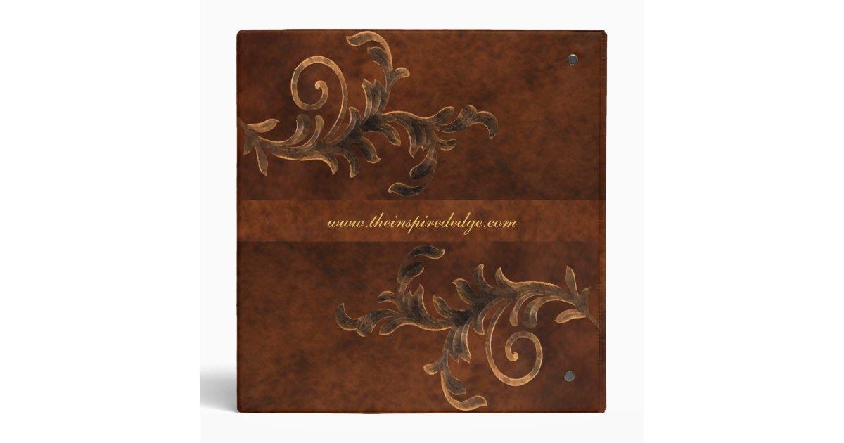 Elegant Scroll Leaf Leather Family Album Binder Zazzle Ca