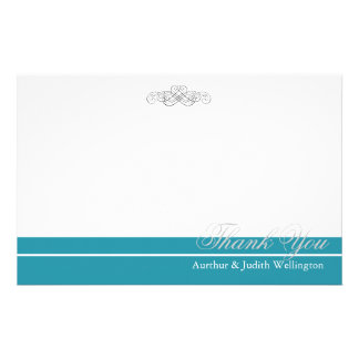 "Elegant Scroll Personalized ""Thank You"" Stationery"