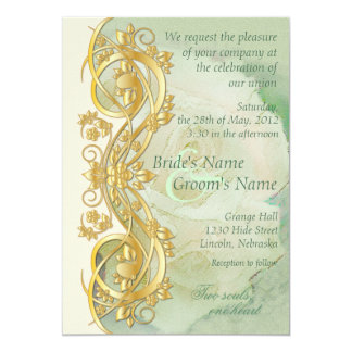 Elegant Scroll Wedding Invitation - Mint Green 2
