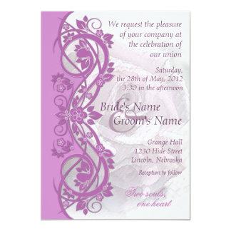 Elegant Scroll Wedding Invitation - RADIANT ORCHID