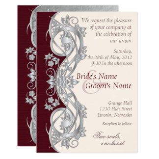 Elegant Scroll Wedding Invitation - Silver - 1