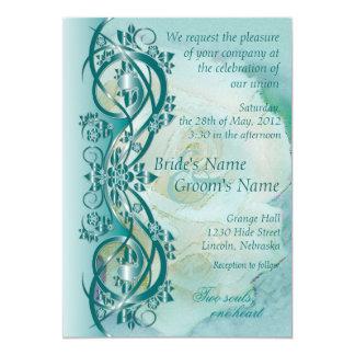 Elegant Scroll Wedding Invitation - Teal 3