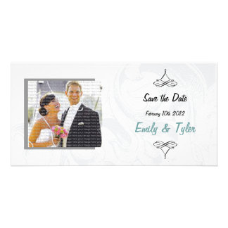 Elegant Scroll Wedding Save the Date Photocards Photo Greeting Card