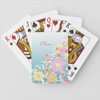 Elegant Sculpted Pastel Floral Personalized Playing Cards