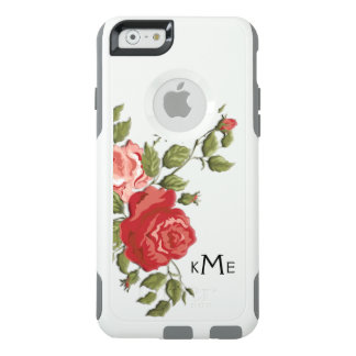 Elegant Sculpted Pink Roses and Monogram OtterBox iPhone 6/6s Case
