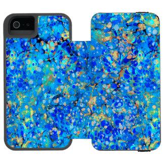 Elegant sea blue beautiful pattern incipio watson™ iPhone 5 wallet case