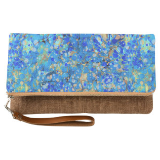 Elegant sea blue beautiful pattern with lace clutch