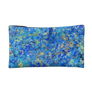 Elegant sea blue beautiful pattern with lace makeup bag