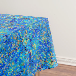 Elegant sea blue beautiful pattern with lace tablecloth