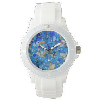Elegant sea blue beautiful pattern with lace watch