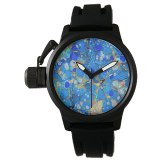 Elegant sea blue beautiful pattern wristwatch