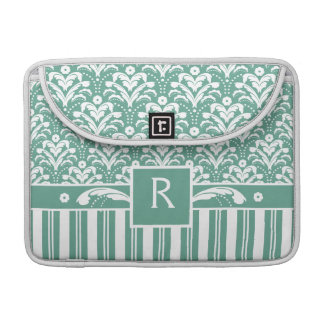 Elegant Sea Green Damask with Your Monogram Sleeve For MacBook Pro