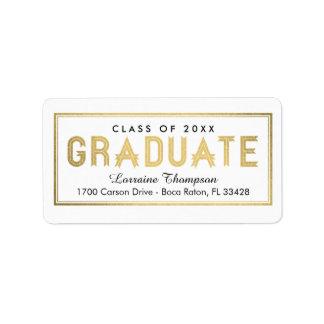 Elegant Seal Graduation Address Labels - Gold
