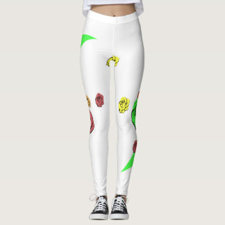 Elegant seamless pattern of flowers on a white bac leggings
