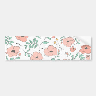 Elegant seamless pattern with flowers, vector illu bumper sticker