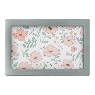 Elegant seamless pattern with flowers, vector illu rectangular belt buckles