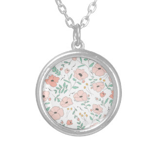 Elegant seamless pattern with flowers, vector illu silver plated necklace