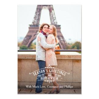 "Elegant Season's Greetings Photo Card Groupon 5"" X 7"" Invitation Card"