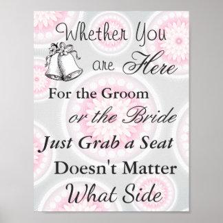Elegant Seating Poster  Wedding  Silver and Pink