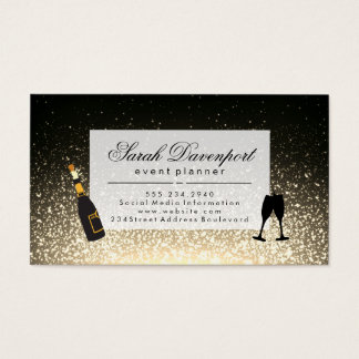 Elegant Sepia Shimmer Champagne Cheers Business Card