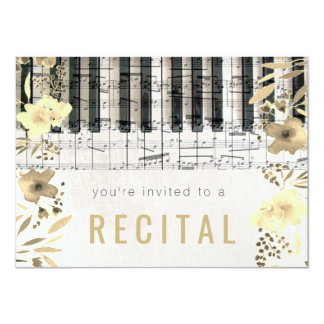 elegant sepia watercolor flowers music recital card